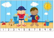Puzzle, deti na pláži