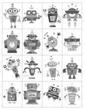 Čiernobiele pexeso s robotmi, predná strana