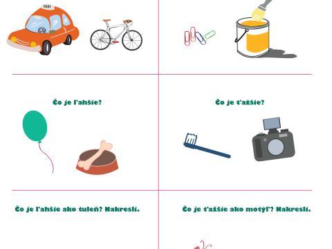 Pracovné listy pre deti - Učíme sa merať, vážiť a poznávať hodiny