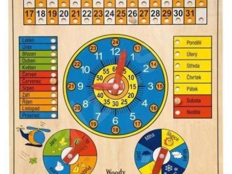 Kalendár s hodinami a barometrom