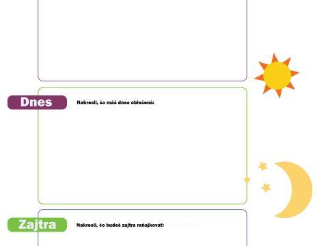 Pracovné listy pre deti - Učíme sa základné pojmy a časové údaje