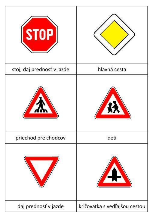 Pexeso dopravné značky 12 kusov, 2.strana