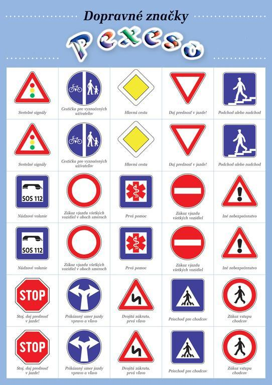 Pexeso dopravné značky 32 kusov, 1.strana